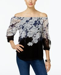 Inc International Concepts Printed Off The Shoulder Peasant Top Only At Macy's Jewel Roses