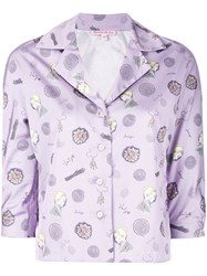 Olympia Le Tan Printed Shirt Women Polyester 36 Pink Purple