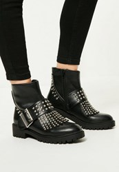 Missguided Black Studded Fringe And Buckle Biker Boots
