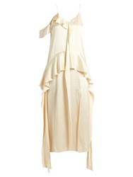 Jonathan Simkhai Ruffle Trimmed Silk Satin Dress Nude