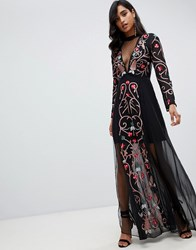 Frock And Frill All Over Embroidered Maxi Dress In Black Multi