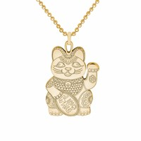 Cartergore Gold Lucky Cat Pendant Necklace