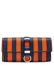 Diane Von Furstenberg Striped Raffia And Leather Clutch Orange Multi