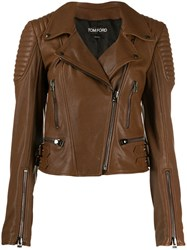 Tom Ford Cropped Zip Up Biker Jacket Brown