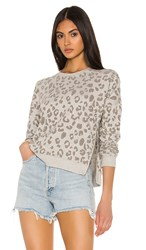 Rails Marlo Sweatshirt In Gray. Flocked Heather Grey Leopard