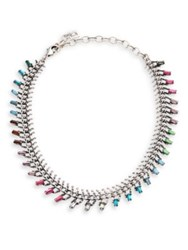 Dannijo Multi Colored Swarovski Crystal Necklace Silver Multi