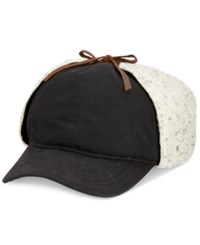 Woolrich Men's Wax Cotton Sherpa Cap Black