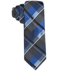 Alfani Men's Raymond Plaid Slim Tie Only At Macy's Blue