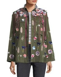 Libertine Embellished Button Front Army Jacket Green