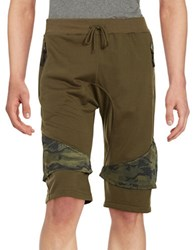 American Stitch Mesh Accented Shorts Olive Green