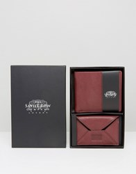 Saville Row Leather Wallet And Card Holder With Suede Inner Set Red