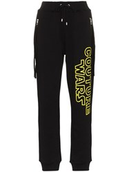 Moschino Couture Wars Printed Cotton Track Pants Black