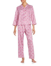 Miss Elaine Printed Pajama Set Purple