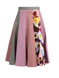 Christopher Kane Gingham And Pansy Print A Line Cotton Skirt Pink Multi