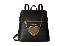 Love Moschino Chained Heart Backpack Black Backpack Bags