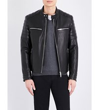 Hugo Boss Quilted Leather Jacket Black