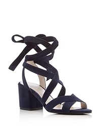 Kenneth Cole Victoria Strappy Lace Up Mid Heel Sandals Blue