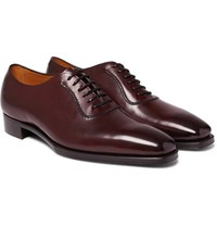 Gaziano And Girling Westbury Burnished Leather Oxford Shoes Burgundy