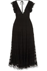 Ulla Johnson Fifi Embroidered Tulle And Voile Maxi Dress Black