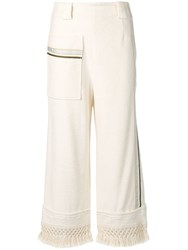 3.1 Phillip Lim Cropped Fringed Trousers White