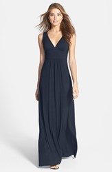 Petite Women's Loveappella V Neck Jersey Maxi Dress Midnight