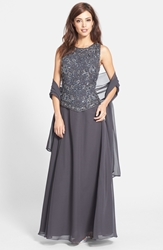 J Kara Embellished Chiffon Gown With Shawl Regular And Petite Slate Mercury