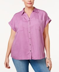 Style And Co Plus Size Short Sleeve Denim Shirt Only At Macy's Orchid Oasis