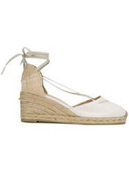 Castaner Tie Ankle Wedge Espadrilles Women Cotton Foam Rubber 36 White