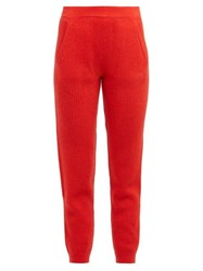Allude Ribbed Knit Cashmere Sweatpants Red