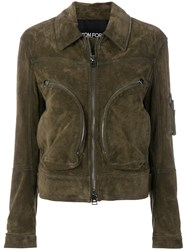 Tom Ford Zipped Leather Jacket Green