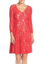 Women's Nydj 'Amelia' Lace Fit And Flare Dress Cardinal Red