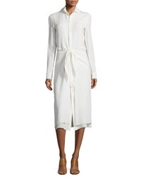 Ralph Lauren Silk Georgette Tie Waist Shirtdress Cream