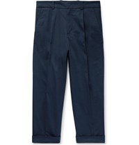 Acne Studios Navy Pierre Cropped Tapered Pleated Stretch Cotton Trousers Blue