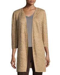 Ming Wang 3 4 Sleeve Open Front Jacket Camel