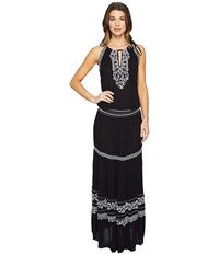 Hale Bob Seas The Day Embroidered Crinkle Rayon Gauze Maxi Dress Black Women's Dress