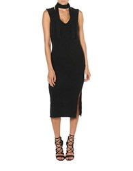 Bardot Sonia Ribbed Fitted Dress Black