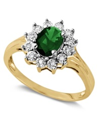 Macy's 10K Gold Ring Emerald 7 8 Ct. T.W. And White Diamond Accent Oval Ring Green