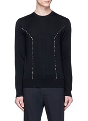 Dsquared Stud And Gem Embellished Wool Sweater Black
