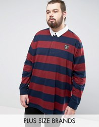 Loyalty And Faith Plus Bold Stripe Rugby Shirt Navy