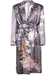 Natasha Zinko Printed Single Breasted Coat Grey