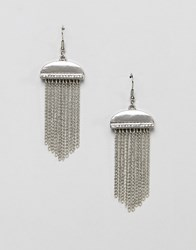 French Connection Diamante Tassle Chain Earrings Silver