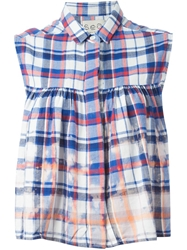 Sea Sleeveless Checked Blouse Blue