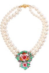 Shourouk Iris Faux Pearl Crystal And Sequin Necklace Green
