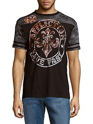 Affliction Crewneck Short Sleeve Cotton Tee Black Charcoal