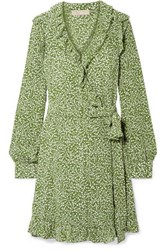 Michael Michael Kors Ruffled Printed Washed Silk Wrap Mini Dress Light Green