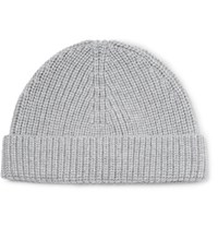 Lanvin Ribbed Cashmere Beanie Light Gray