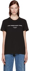 Off White Black 'I Only Smoke When I Drink' T Shirt