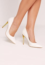 Missguided Perspex Heel Faux Leather Court Shoes White