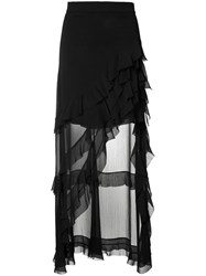 Alice Olivia Ruffled Asymmetric Skirt Black