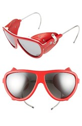 Moncler Women's 57Mm Mirrored Shield Sunglasses Red Gunmetal Smoke Mirror Red Gunmetal Smoke Mirror